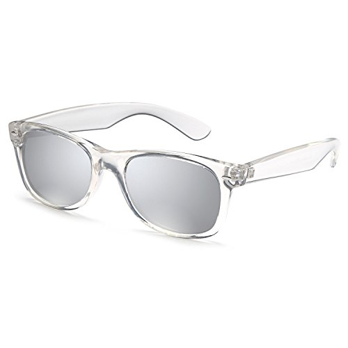 GAMMA RAY UV400 55mm Classic Adult Style Sunglasses - Mirror Silver Lens on Clear - Silver Frame Sunglasses