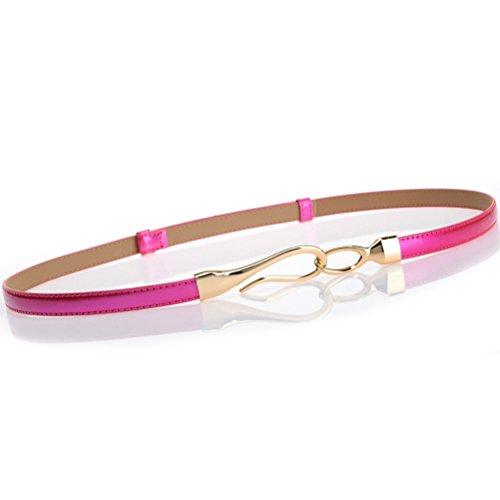 Nanxson(TM) Women's Solid Skinny Leather Buckle Belt Multi-colors PDW0002 - Multi Buckle Womens