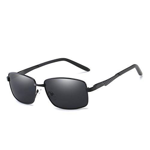 Rectangular Polarized Sunglasses For Men Ultra Lightweight Spring Hinge Metal Frame UV400 Protection VOLCHIEN VC1017 (Black Frame/Grey Lens) ()