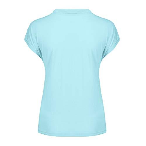 T Donna Dancing Ruffled Elegante Sports shirt Camicia Blue Riou Streetwear Elegante A Maniche Top Cool Sexy Allentato Camicette Corte Large Size Solid collo O Tunica Moda pTH5vq