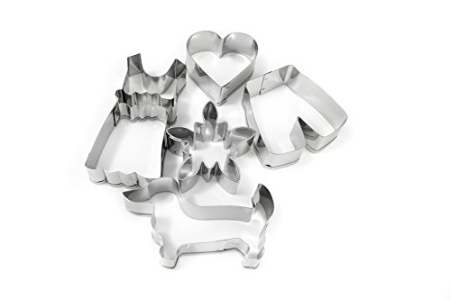 002074 Cookie Cutters in Bavarian Outfit Set Including Edelweiss Flower, Lederhosen and Traditional German Dirndl Dress (Stainless (Bavarian Outfit)