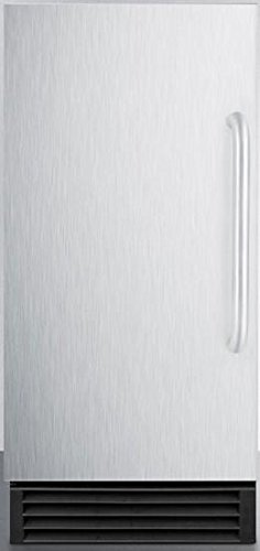 "BIM44G 14.5"""" Commercial Ice Maker with Energy Star Automatic Defrost Reversible Door 25 lbs. Storage Capacity 50 lbs. Daily Production Internal Pump and Clear Ice Cubes: Stainless Steel"