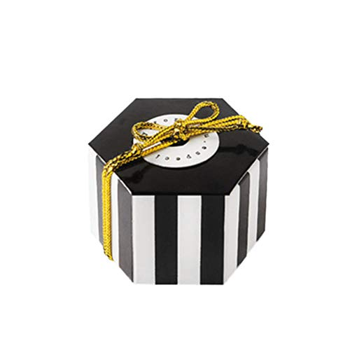 TOYANDONA 50Pcs Hexagon shape candy box stripe candy bag paper party treat storage container – black stripe (no card and gold thread)