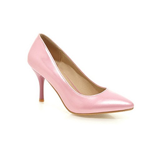 Pink Pointed on Pumps Women's Closed PU Solid Shoes Pull High AmoonyFashion Toe Heels qFx7TURR