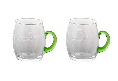 Bockling 2pc Gluehwein Mug Glass Wine Cup Engraving Grapes & Vine Leaves Germany Etched Glass Vintage Design Mulled Wine Mug