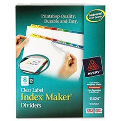 ** Index Maker Divider w/Multicolor Tabs, 8-Tab, Letter, 25 Sets/Box