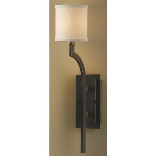 Murray Feiss Lighting WB1470ORB Stelle - One Light Wall Bracket, Oil Rubbed Bronze Finish with Cream Color Linen Fabric Shade