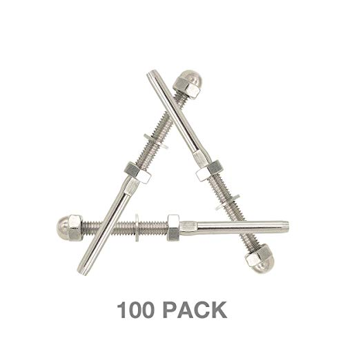 100 Pack Fayevorite Threaded Terminal Stud End, Threaded Tension Stud End,Stainless Steel Hand Swage Stud for 1/8
