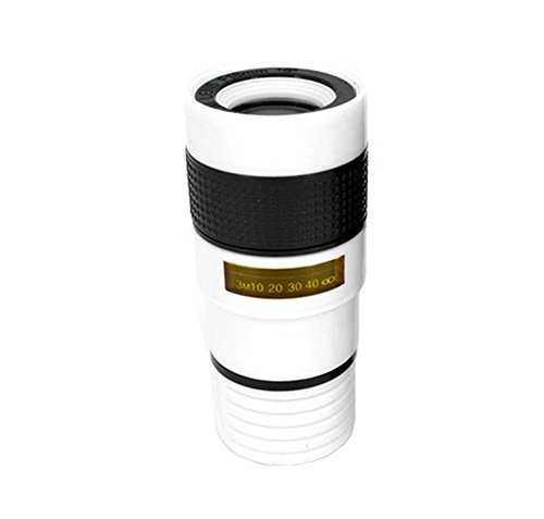 Cellphone Camera Zoom Lens,YJYdada Universal High Definition Optical Telescope Zoom Lens,Clip-on Telescope for Smartphones,for iPhone 8/7/6s/6 Plus Samsung Galaxy S8/S8 Plus Note8 (White)