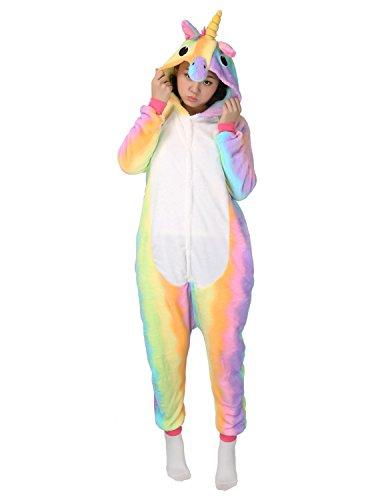 Animal Pajamas Cosplay Costume Cartoon Unisex Halloween Unicorn Sleepwear (L for height 67