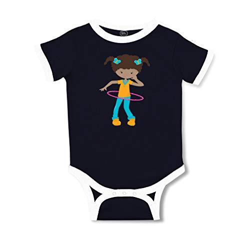 Navy Womens Sporty Hoops - Girl Hoop B Short Sleeve Taped Neck Boys-Girls Cotton Baby Soccer Bodysuit Sports Jersey - Navy, 6 Months