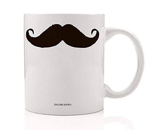 Moustache Coffee Mug Gift Idea Imperial Fu Manchu Handlebar or Pencil Style Fun Present for Mustachioed Man Dad Daddy Father's Day Birthday Christmas 11oz Ceramic Beverage Tea Cup by Digibuddha DM0519