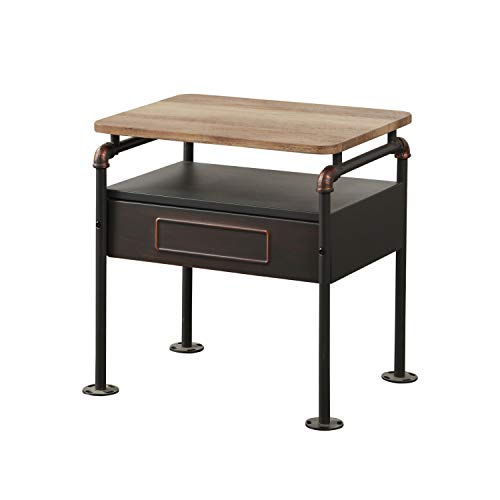 Benzara BM185511 Industrial Pipe Detailed Nightstand Drawer and One Shelf, Antique Oak and Sandy Grey