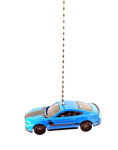 Hot Wheels Ford Mustang Diecast Car Ceiling Fan Light Pull & Ornament 1:64 (2018 Ford Mustang GT (Grabber Blue))