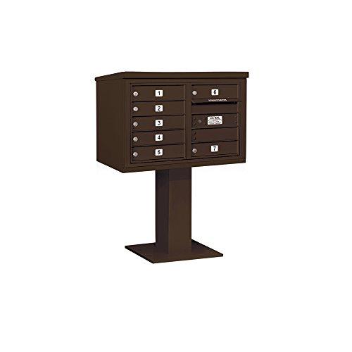 Salsbury Industries 3405D-07BRZ Pedestal Mounted Horizontal Mailbox, Bronze Aluminum 4c Horizontal Mailboxes