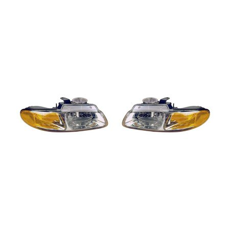 Chrysler Town & Country 1996-1997/Dodge Caravan/Plymouth Voyager 1996-1999 Headlight Assembly Pair Driver and Passenger Side w/o Quad Lamps CH2502109, CH2503109