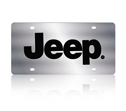 Jeep Chrome License Plate - Eurosport Daytona 1418-1 Stainless Steel Jeep Logo License Plate