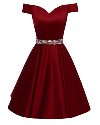 Changuan Women's Short Beaded Prom Dresses Off The Shoulder Backless Homecoming Dress Burgundy-6