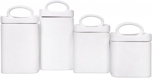 (4) Square White Ceramic Canisters with Lids ~ Storage & Home Decor Set (Stainless Steel Dinette Sets)