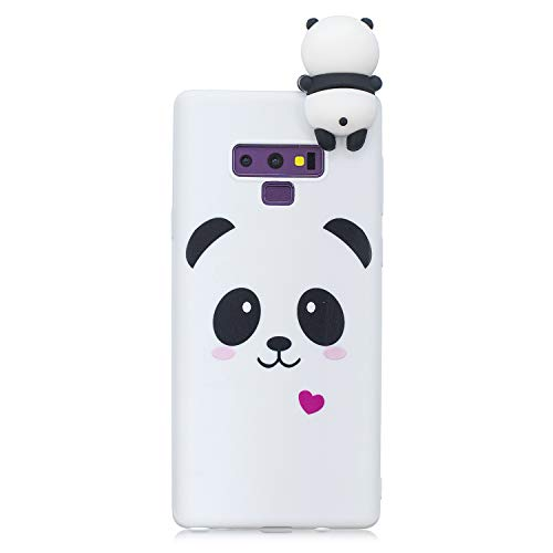 Ostop Samsung Galaxy Note 9 Case,3D Cute Cartoon Animal Protective Phone Case,Soft Silicone Rubber Skin Cover,White Panda Colorful Painted Pattern Slim Fit Shockproof Shell for Samsung Galaxy Note 9 -