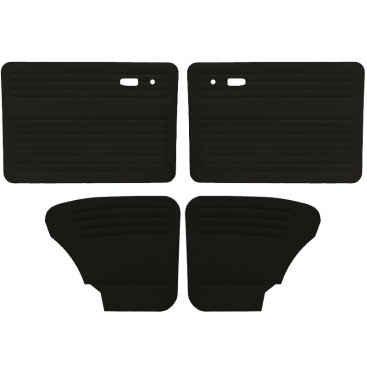 VW Door Panels, Full Set w/o Front Pockets, Black Smooth Vinyl, Beetle and Super Beetle Sedan 1967-1977 (Panels Front Door Tmi)