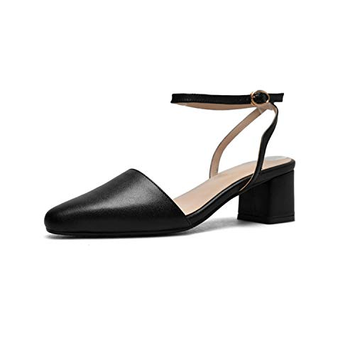 - ANZLOU& 2019 New Spring Summer Square Toe Shallow Pu Leather Buckle Strap Simple High Heels Sandals Women Fashion Tide 10SJ628 Black 35