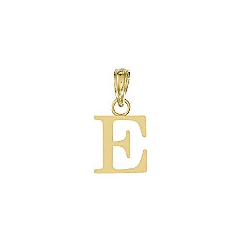 14k Gold Block Letter - 14k Yellow Gold Letter Charm Pendant, E Block Initial, High Polish