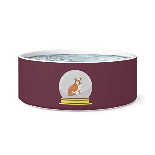 Weezag Snow Globe Bulldog Pet Dog Bowl, Funny Gifts for Dog Lovers