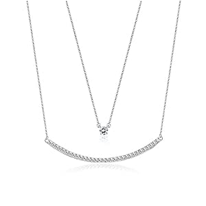 KesaPlan Swarovski Crystal Layered Necklace Double Chain Crystal Necklace for Women, Charm White Gold Necklace Jewelry…