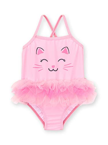 (Healthtex Baby Girl Kitty One Piece Tutu Swimwsuit, Size 3-6 Months(Gumball Pink))