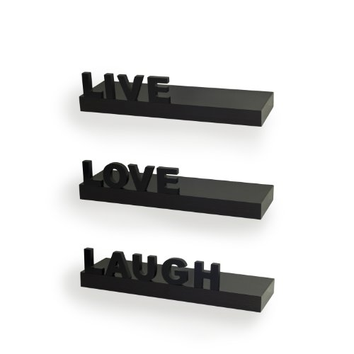 "Danya B. YU075 Decorative Inspirational Quotes Wall Decor - ""Live"", ""Love"", ""Laugh"" Floating Shelves (Set of 3) - Black by Danya B"