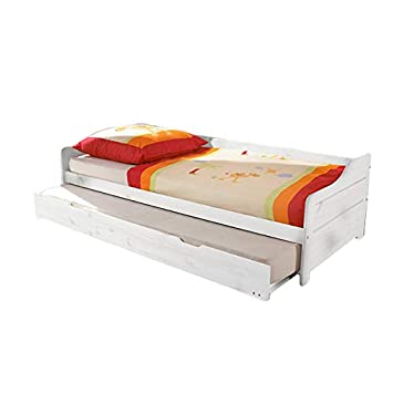Funktionsbett 90 200 Cm Kiefer Massiv Weiss Gastebett Gasteliege Kinderbett Jugendliege Tandembett Massivholzbett Kinderzimmer Bett