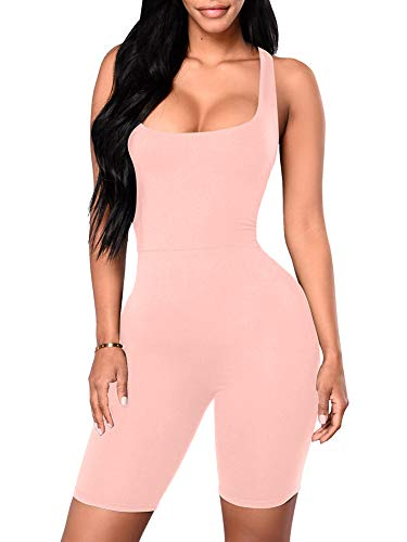 YMDUCH Women's Sexy One Piece Tank Top Backless Bodycon Club Short Jumpsuit Pink2, Large
