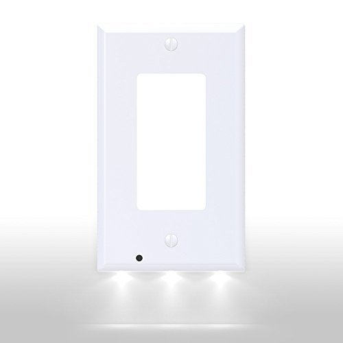 SnapPower Guidelight - Outlet Wall Plate With LED Night Lights - No Batteries Or Wires - Installs In Seconds - (Dcor, White) (1 Pack)