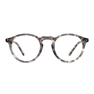 TIJN Vintage Eye-catching Keyhole Horn Rimmed Round Acetate Eyeglasses