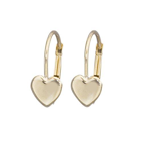 14k Gold Heart Leverback Girls Earrings (Childrens Earrings Heart Leverback)