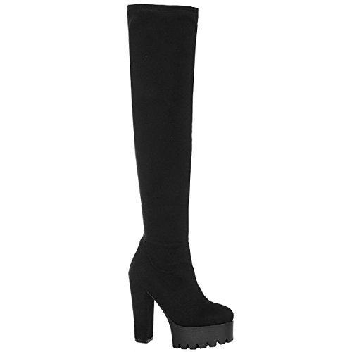 Miss Image UK Damen Overknee Stollenschuhe Grobe Sohle Plateau Hoher Absatz Stiefel Schuhe Größe schwarz Kunstwildleder