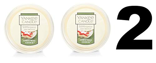 Yankee Candle Christmas Cookies Meltcup - Scenterpiece Wax Warmer System Refill - Set of TWO Christmas Cookie Scent Easy Meltcups