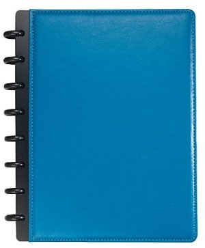 Staples Arc Customizable Leather Notebook System, Blue, 6-3/4