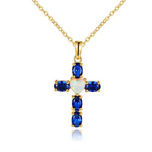 Barzel 18K Gold Plated Created Fire Opal & Created Sapphire Heart Cross Pendant Necklace