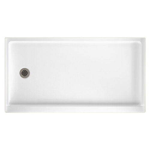 SR-3260L-010 Solid Surface Left Hand Drain Shower Base, 60-Inch by 32-Inch by 5-1/2-Inch, White