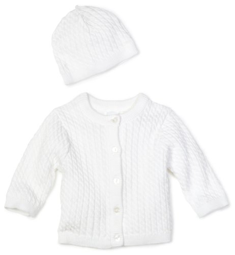 Little Me Unisex-baby Newborn Lovable Cable Sweater, White, 3 Months - Set Sweater Baby