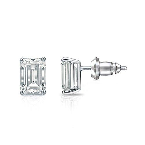 (Diamond Wish 14k White Gold Emerald-Cut Diamond Stud Earrings (1 1/2 carat TW, O.White, SI1-SI2, IGI Certified) 4-Prong Basket, Secure Lock Back)