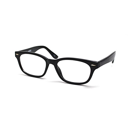 EyeSquared Reading Glasses - Premium Plastic Fashion Frames with Spring Hinge, for Men & Women of All Ages, Midnight - Glasses Mib