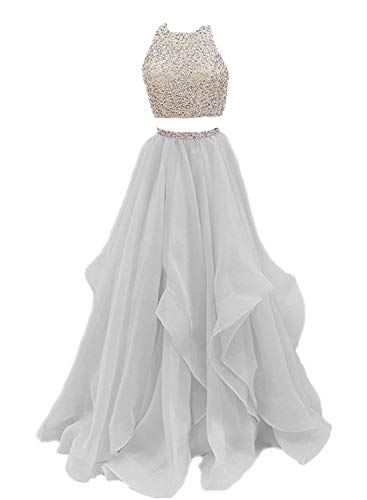 Dressytailor Two Piece Floor Length Organza Prom Dress Beaded Evening Gown Silver