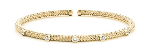 - 1/10ct. Diamond 14k Yellow Gold Stackable Flexible Slip-On Bangle Bracelet - Italian Made