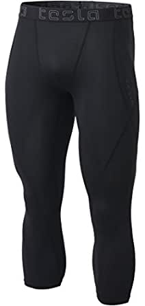 Tesla Men's Compression 3/4 Capri Shorts Baselayer Cool Dry Sports Tights MUC18-KLB