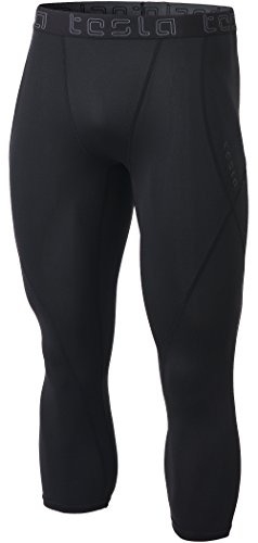 TSLA Men's Compression 3/4 Capri Pants Baselayer Cool Dry Sports Running Yoga Tights, Atheltic(muc18) - Black, Large