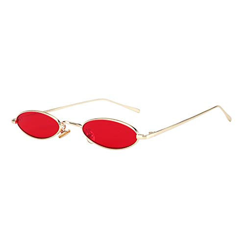 - ROYAL GIRL Vintage Oval Sunglasses For Women Men Unisex Fashion Small Metal Frames Shades (C40-Gold-Red)