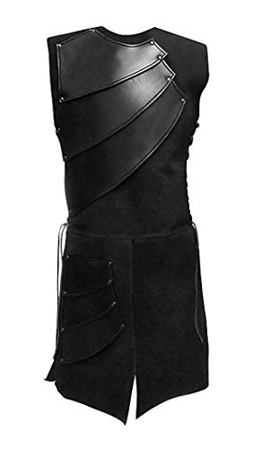 MasaRave Mens Renaissance Warrior Waistcoat King Medieval Sleeveless Vests (Black, L) -